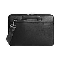 """Кожаная сумка для ноутбука черная MacBook 13"""", фото 1"""