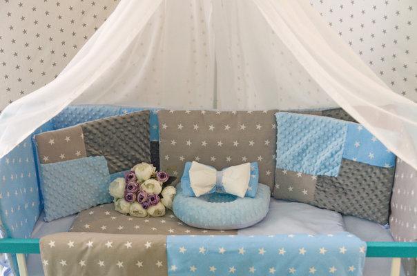 Комплект детского постельного белья в кроватку,  Минки, разные цвета голубой