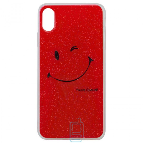 Чехол силиконовый Glue Case Smile shine iPhone XS Max красный