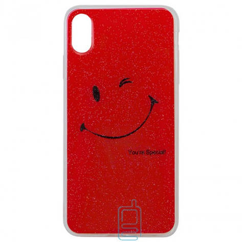 Чехол силиконовый Glue Case Smile shine iPhone XS Max красный, фото 2