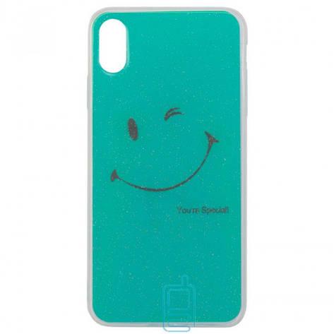 Чехол силиконовый Glue Case Smile shine iPhone X. XS бирюзовый, фото 2