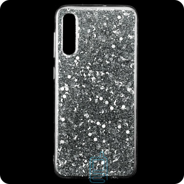 Чехол силиконовый Конфетти Samsung A70 2019 A705 серебристый