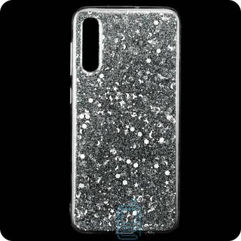 Чехол силиконовый Конфетти Samsung A70 2019 A705 серебристый, фото 2