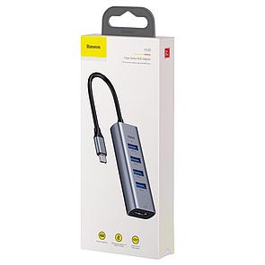 Хаб Baseus Enjoy series Type-C to USB3.0*4+HDMI HD intelligent HUB adapter (grey) (CAHUB-N0G)