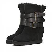 Стильные зимние женские ботинки из замши, на натуральном меху. На устойчивой платформе, высотой 8 см.