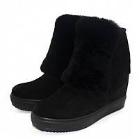 Стильные женские зимние ботинки из замши, на натуральном меху. Наудобной и устойчивой платформе.
