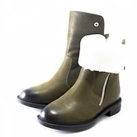 Стильные, теплые женские зимние ботинки-трансформеры оливкового цвета, с двумя молниями. на натуральном меху.