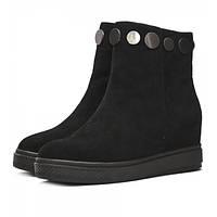 Стильные женские зимние ботинки из замши, на натуральном меху. На удобной и устойчивой платформе.