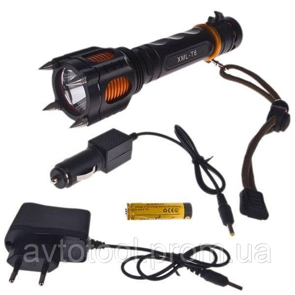 Фонарик диодный Police 12V X007/855-T6, аккумулятор, 18650, шипы, нож (X007/855-T6)