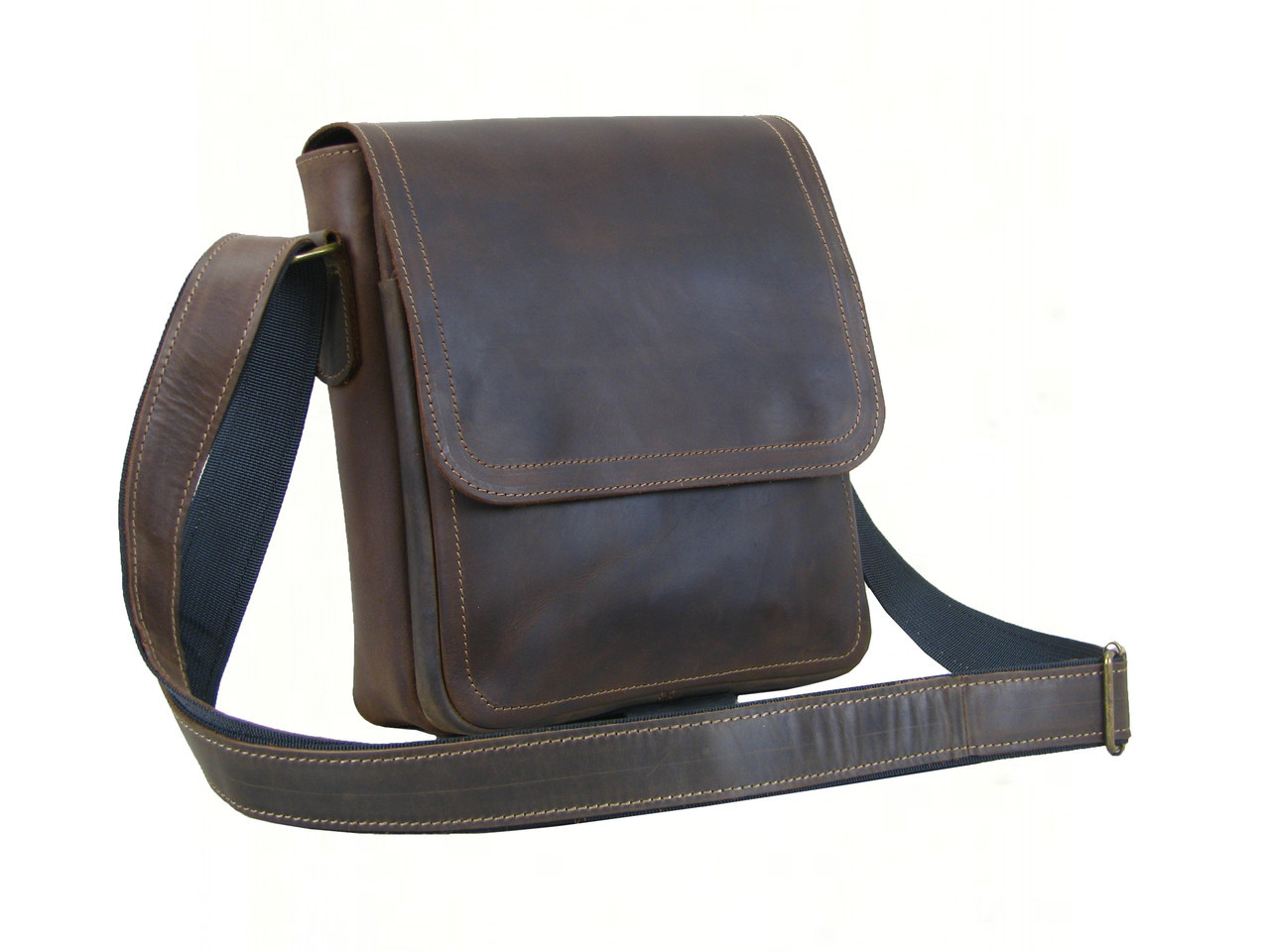 Мужская кожаная сумка  GS c декоративной строчкой  коричневая