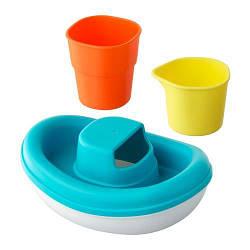 ИКЕА (IKEA) СМОКРИП, 202.603.94, Игрушечный набор д/ванны, 3 предм., лодка