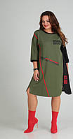 Платье Sandyna-13628 белорусский трикотаж, зеленые тона, 64