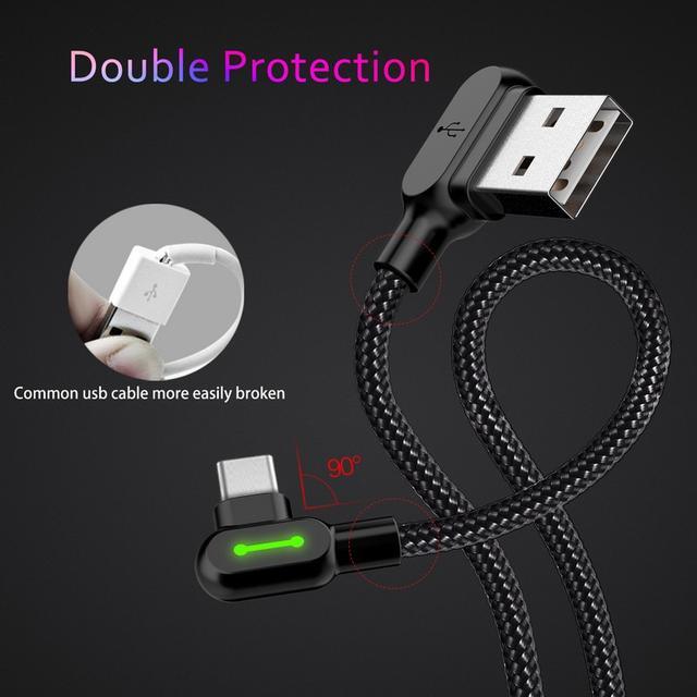 Кабель USB Type-C Mcdodo с двусторонним USB разъемом LED индикацией для зарядки и передачи данных Черный 0.5м 1.2м 1.8м
