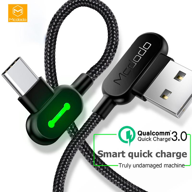 Кабель USB Type-C Mcdodo с двусторонним USB разъемом LED индикацией для зарядки и передачи данных (Черный, 1.2м)
