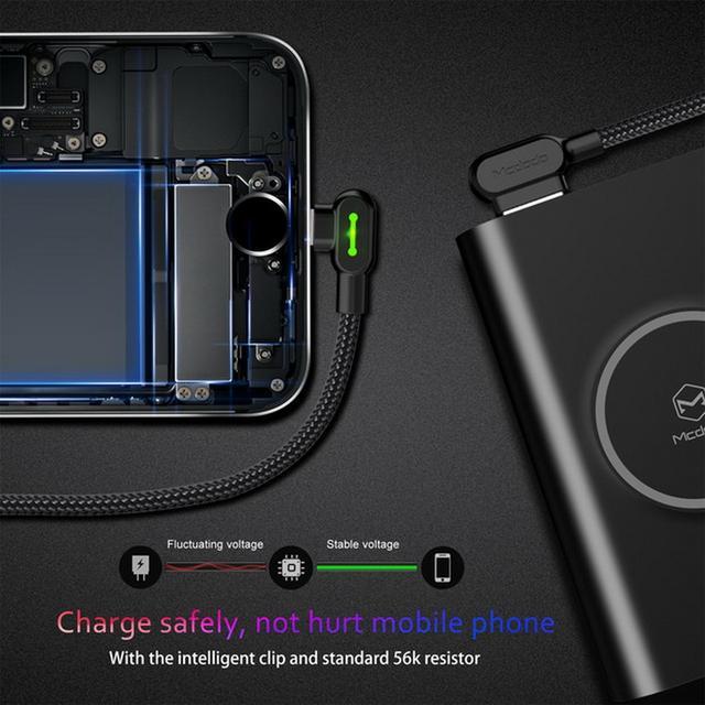 Кабель Lightning Mcdodo с двусторонним USB разъемом LED индикацией для зарядки и передачи данных Черный 0.5м 1.2м 1.8м