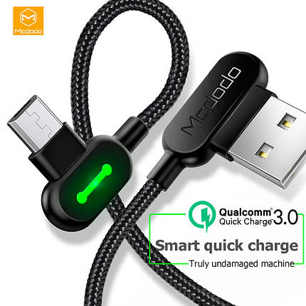 Кабель USB Micro USB Mcdodo с двусторонним USB разъемом LED индикацией для зарядки и передачи данных (Черный), фото 2