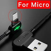 Кабель USB Micro USB Mcdodo с двусторонним USB разъемом LED индикацией для зарядки и передачи данных (Черный), фото 3