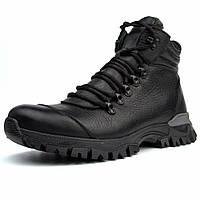 Зимние черные спортивные кожаные ботинки на овчине мужская обувь Rosso Avangard Lomer Irio Black Leather
