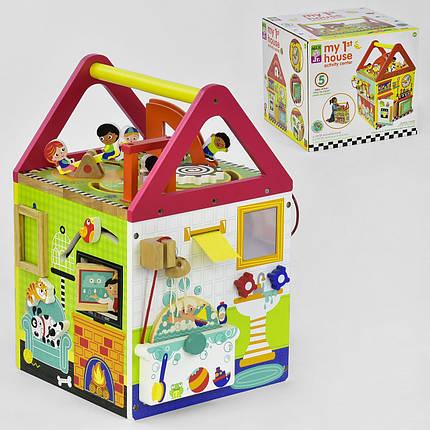 Деревянный Логический куб Мой первый домик, фото 2