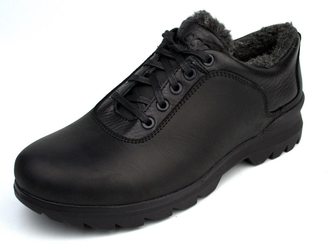 Зимние полу-ботинки на меху черные мужские кожаные Rosso Avangard Ragn Crazy Reba Black