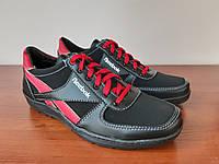 Кроссовки мужские черные с красными вставками удобные ( код 814 ), фото 1