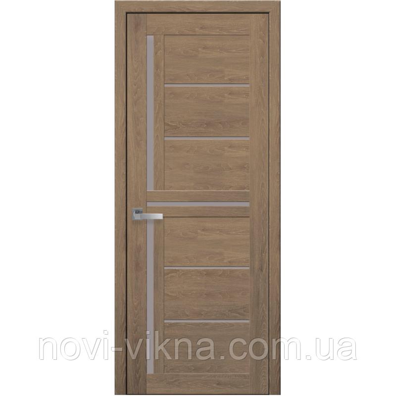 Дверь межкомнатная Диана дуб медовый 900 мм со стеклом сатин (матовое), ПВХ Ультра.