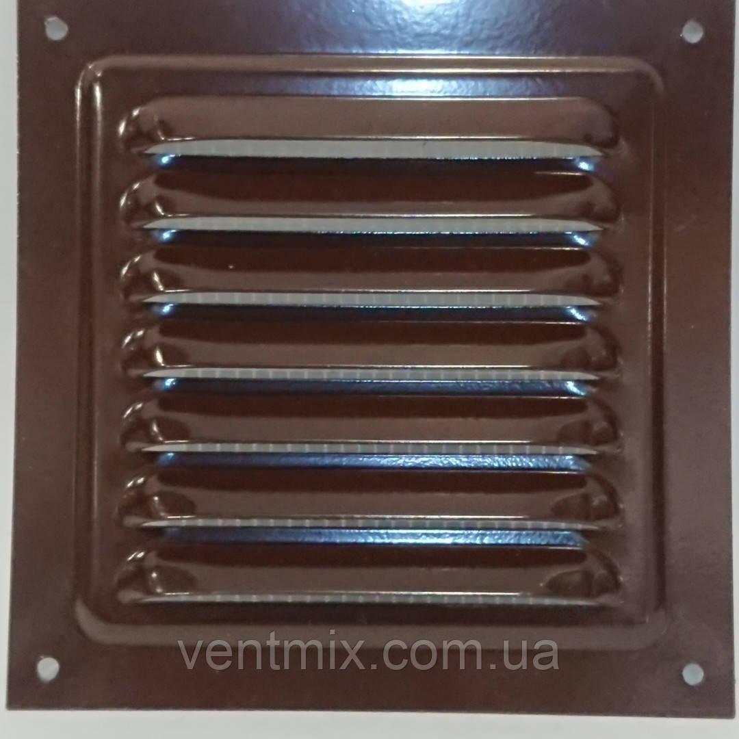 Вентиляционная решетка металлическая МВМ 250 с (коричневая)