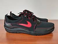Чоловічі кросівки чорні з червоними вставками зручні прошиті ( код 8141 ), фото 1