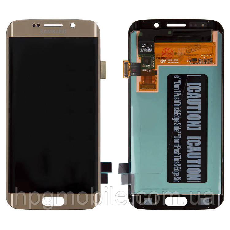 Дисплей для Samsung Galaxy S6 EDGE G925, модуль в сборе (экран и сенсор), золотистый, оригинал