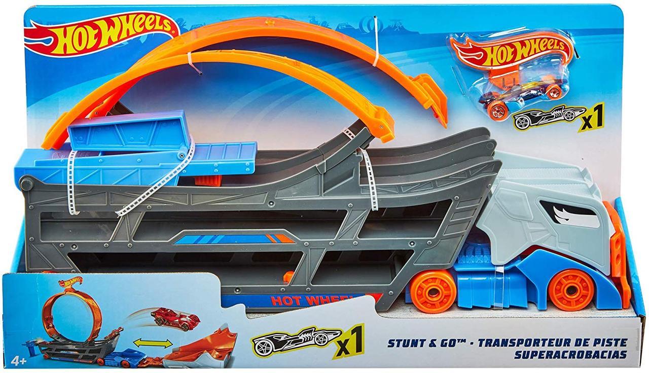 Трек-трансформер грузовик Крутые трюки и гонки кольцо петля на автовозе Hot Wheels Stunt n' Go Track GCK38, фото 1