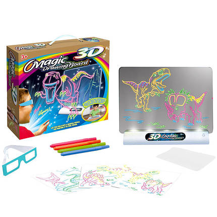 Электронная доска для рисования SUNROZ 3D Magic Drowing Board Динозавры с подсветкой и 3D эффектом (SUN0145), фото 2