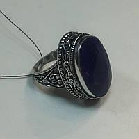 Кольцо овал с натуральным камнем сапфир в серебре. Кольцо с сапфиром 19 размер Индия