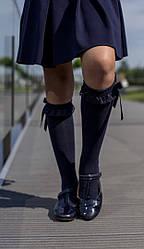 Гольфы однотонные нарядные для девочки фирмы KATAMINO, цвет темно синий : 27-30