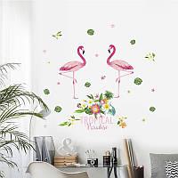 "Интерьерная наклейка ""Фламинго пара"" Tropical , размер 85*80 см."