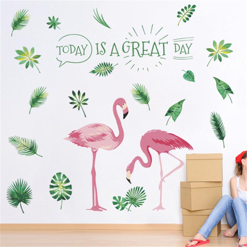 "Интерьерная наклейка ""Фламинго пара"" Great day , размер 85*80 см."