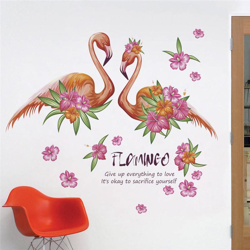 "Интерьерная наклейка ""Фламинго пара"" Гаваи, размер 56*70 см."