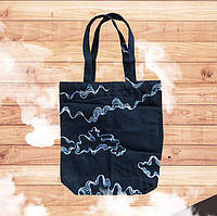 Двусторонняя Черная Эко сумка шопер с Облаками