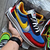 "Мужские кроссовки Nike LD Waffle Sacai ""Blue Multi"" замшевые весна осень демисезон. Живое фото. Реплика"