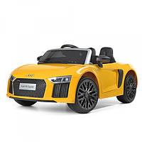 Детский 2-х моторный электромобиль Audi с кожаным сиденьем, M 3449 EBLR-6 желтый