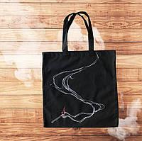 Черная эко сумка шопер со дымящейся спичкой