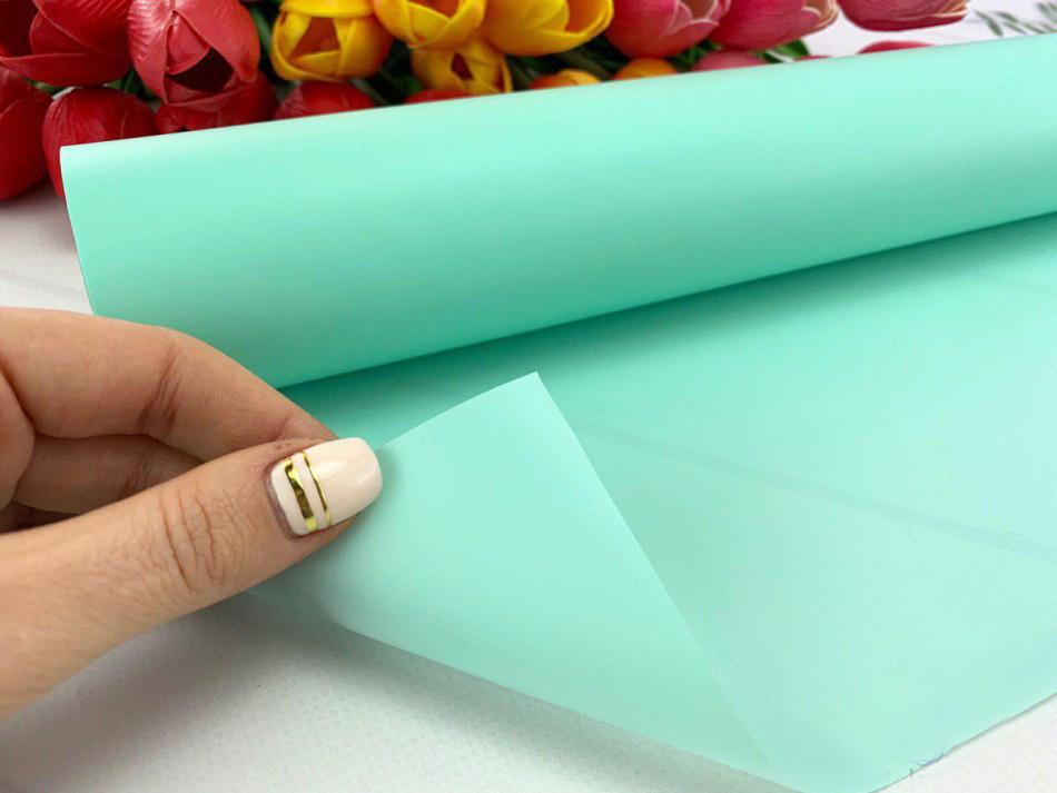 Калька для упаковки цветов в рулоне Мятная непрозрачная 0,7×20 м