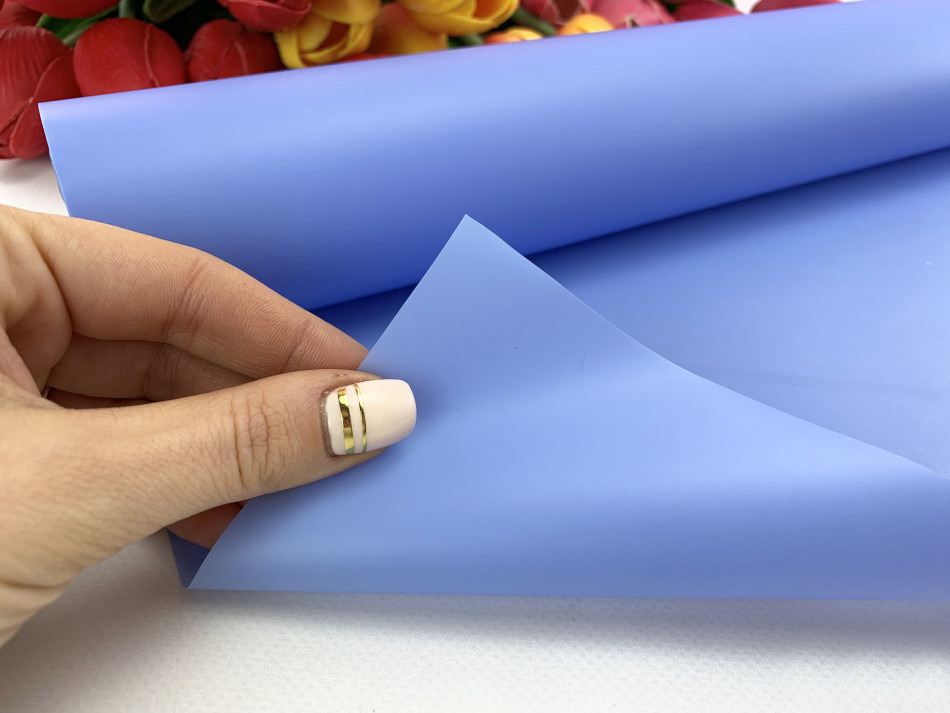 Калька для упаковки цветов в рулоне Синяя непрозрачная 0,7×20 м