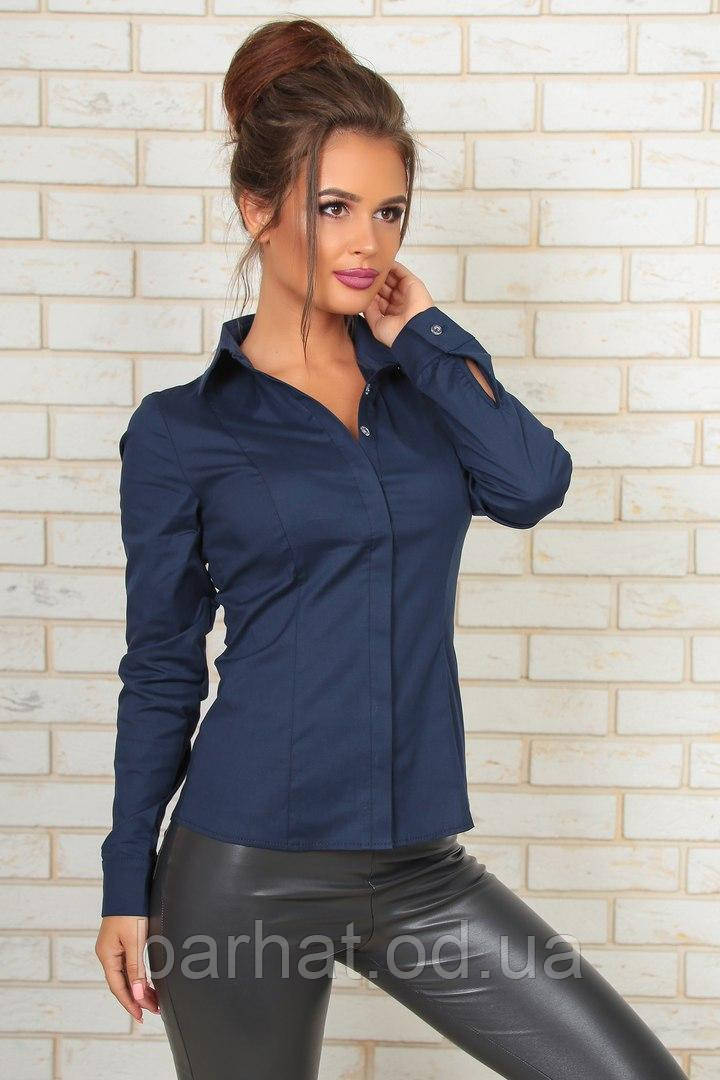 Стильная рубашка синего цвета 42,44,46,48  р.