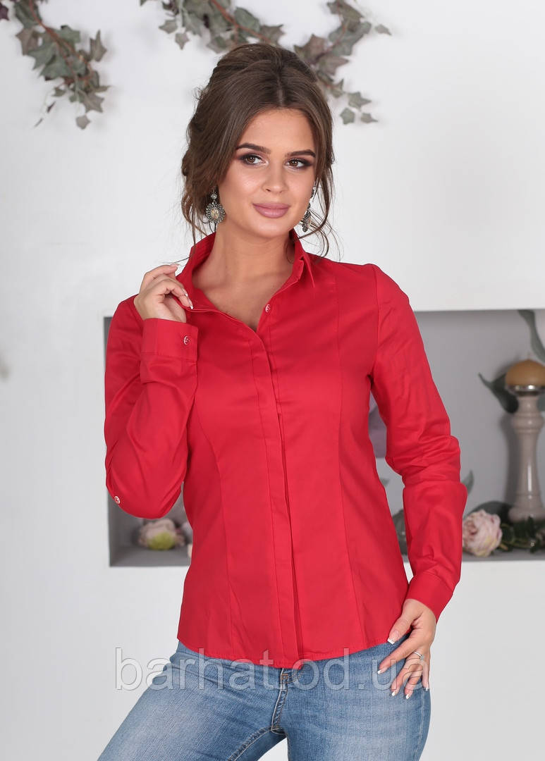 Класична сорочка червоного кольору 42,44,46,48 р.