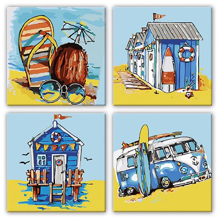 Раскраски по номерам Квартет Летние приключения KNP016 Идейка 4 по 18 х 18 см