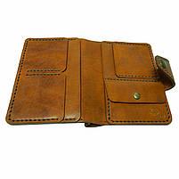 Коричневое мужское портмоне для документов ручной работы, фото 5