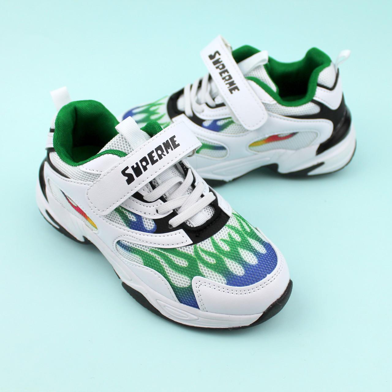 Детские белые кроссовки  Пламя тм Violeta размер 31,32,33,34,35,36