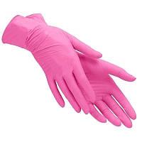 Перчатки нитриловые розовые размер М 100 шт