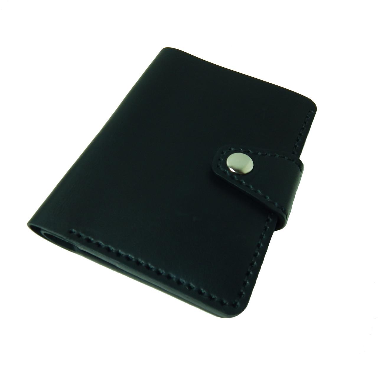 Черное мужское портмоне для документов ручной работы