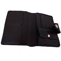 Черное мужское портмоне для документов ручной работы, фото 3